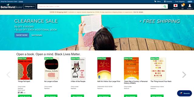 Better World Booksの公式サイトページ