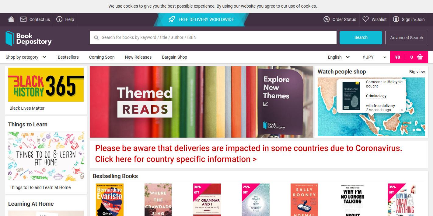 Book Depositoryの公式サイトページ