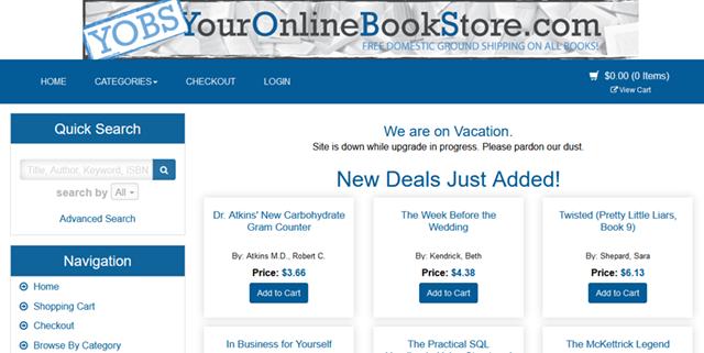 Your Online Bookstoreの公式サイトページ